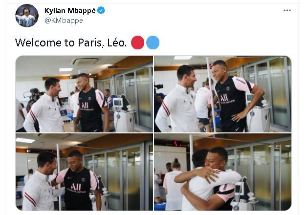 姆巴佩贴出和梅西拥抱图片  同时欢迎梅西加盟巴黎