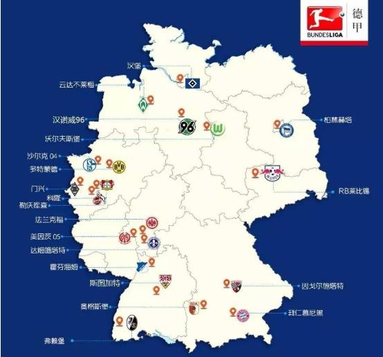 德系球队的地理分布