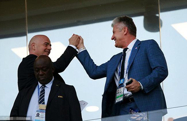 国际足联主席因凡蒂诺与克罗地亚足协主席达沃-苏克
