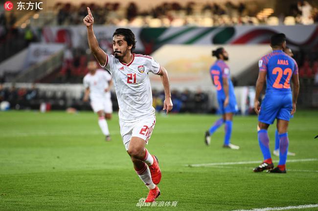 亚洲杯-阿联酋2-0印度取首胜 两轮积4分升至榜首