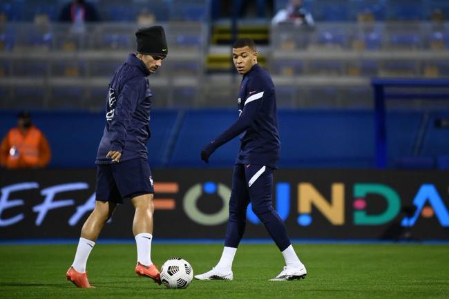 欧国联克罗地亚vs法国首发:姆巴佩+马夏尔+格子