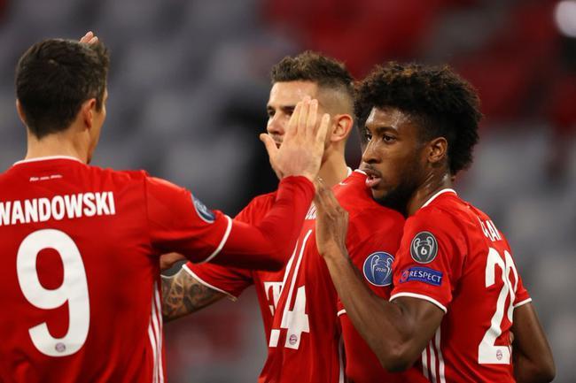欧冠-科曼2射1传 托利索世界波 拜仁4-0完胜马竞