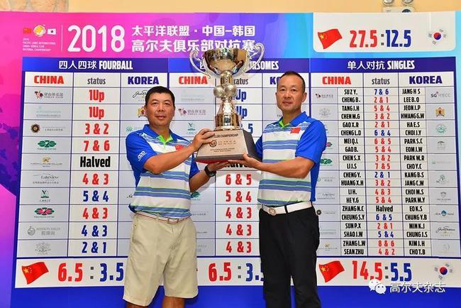 中国队队长陈树新(左)和副队长孙平香共同捧起冠军奖杯