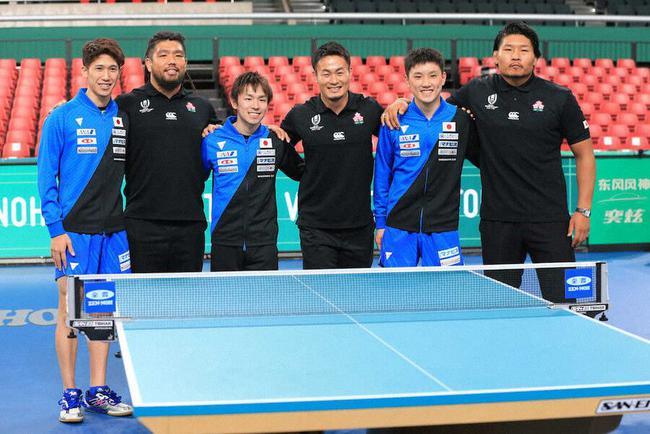 日本男乒合影橄榄球选手