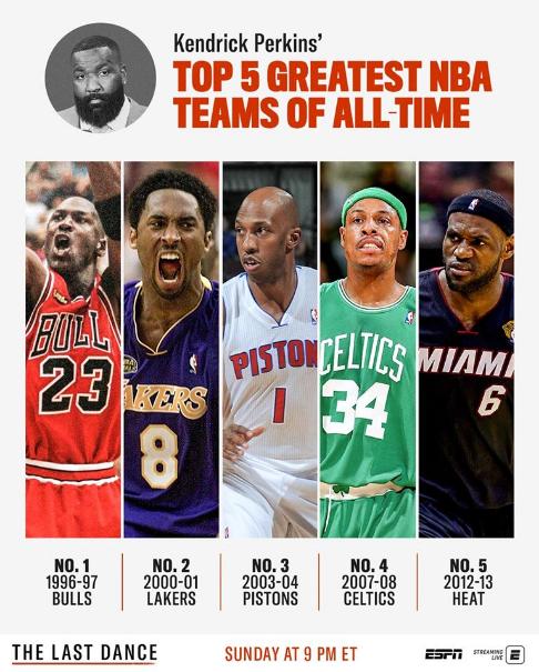 NBA史上最强5队勇士落榜!第一詹吹怨念太深了