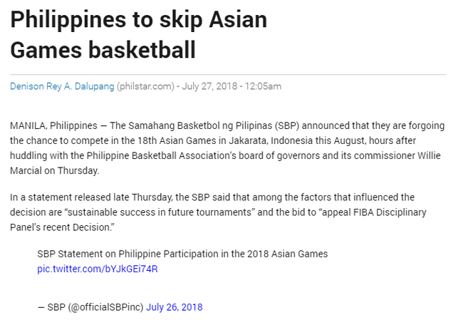 菲律宾男篮退出亚运会