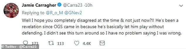 卡拉格在推特上认错