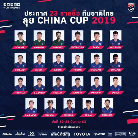 泰国队中国杯大名单
