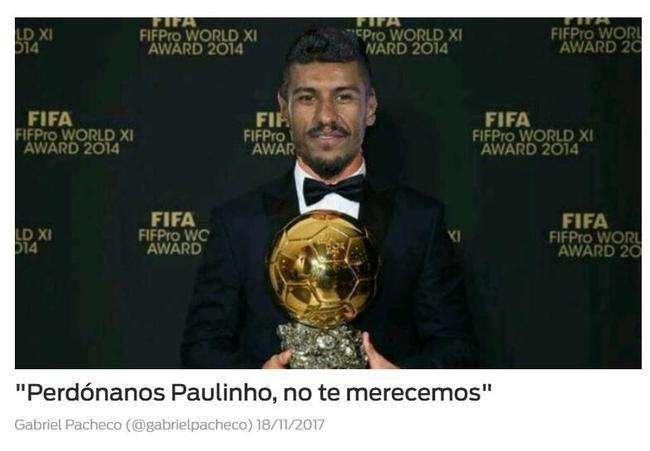 曾有球迷P出了保利尼奥获得金球奖的照片