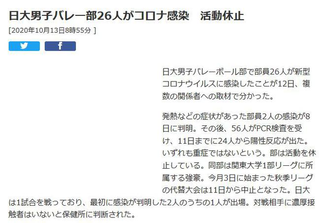 日本大学男排26名球员感染新冠 最早确诊者曾参赛