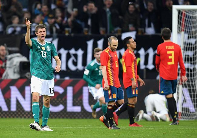 热身-穆勒世界波小白助攻 德国1-1战平西班牙