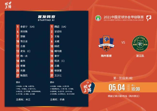 中甲:补赛30分钟各无建树 梅州客家0比1负浙江