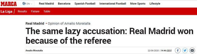 西媒观点:指责皇马赢球靠裁判 这是懒惰的指责