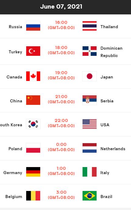 世界女排联赛7日赛程:中国21点对阵塞尔维亚