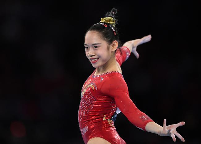 中國隊選手劉婷婷在自由體操比賽中