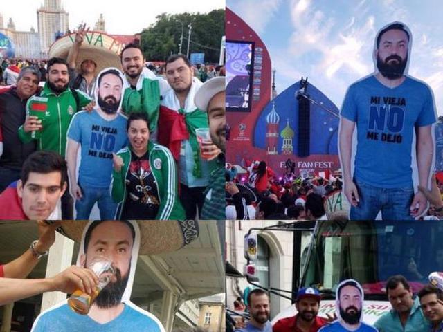 世界杯好哥们!墨西哥球迷带兄弟纸人看球