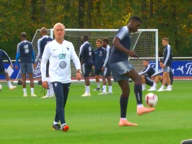 视频-法国队训练博格巴秀颠球技术 展现绝对球感