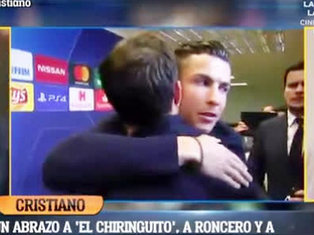 视频-C罗主动拥抱西班牙记者:送给所有皇马球迷