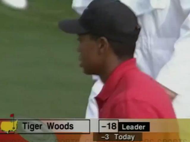 视频-1997年美国大师赛记忆 伍兹在14号洞抓鸟