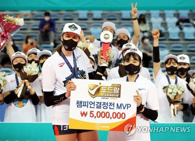韩国女排联赛GS加德士夺冠 赛季三冠李素英MVP