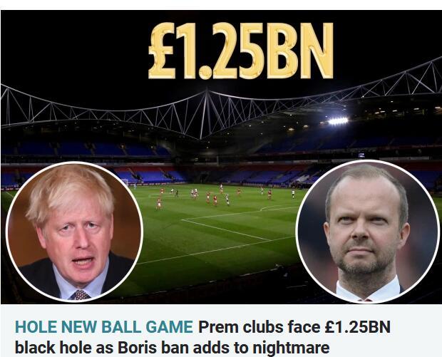 12.5亿英镑!英超再不开放球场就完了 谁都扛不住