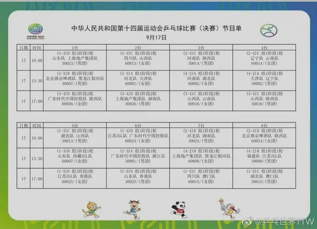 十四运乒乓球17日前瞻:马龙樊振东陈梦等领衔团战