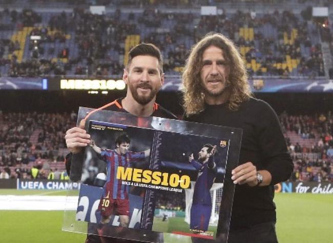 普约尔为梅西送上欧冠百球纪念