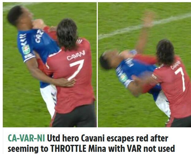 曼联又被裁判照顾了?卡瓦尼锁喉推人逃脱红牌