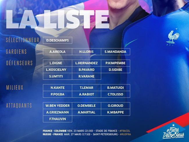 法国队热身赛大名单:格列兹曼领衔 本泽马无缘