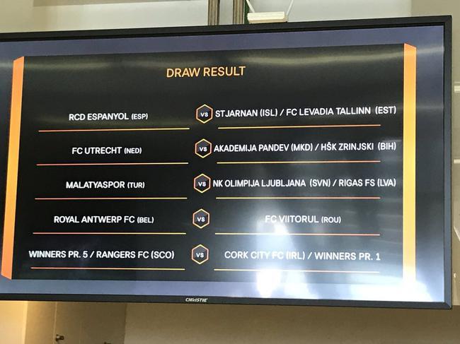 欧联杯资格赛抽签结果