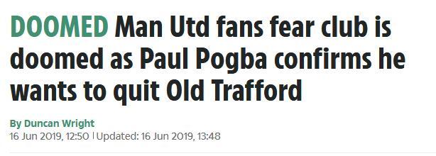 球迷担心,博格巴走,曼联更要完了