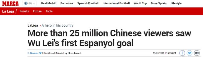 超过2500万名球迷目睹武磊首球