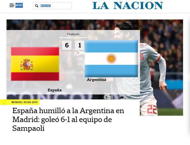 阿根廷媒体大肆批评阿根廷队惨败给西班牙的表现