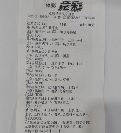 8串1搏高赔平局全命中 竞彩牛人88元擒158万