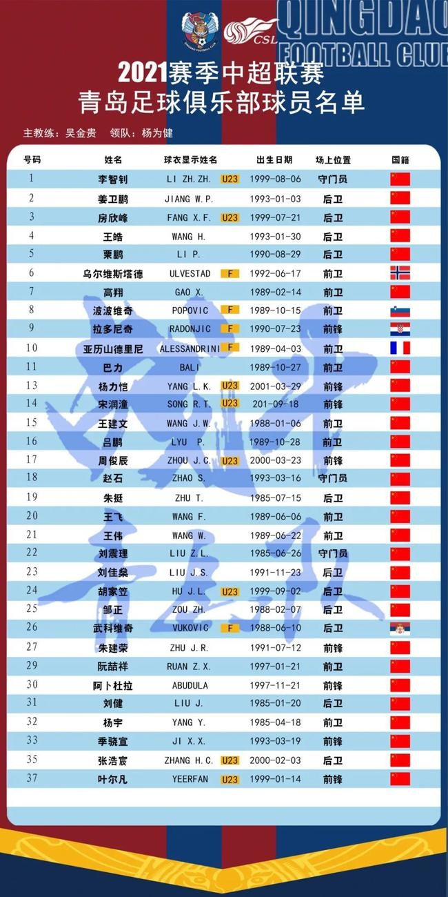 青岛队公布新赛季大名单无王栋 新援朱挺刘健领衔