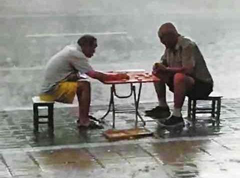 人民日报赞老人暴雨中对弈 象棋仍可焕发新生机