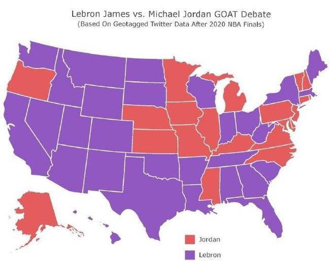 29-21!全美各州票选NBA历史最佳 詹姆斯胜乔丹