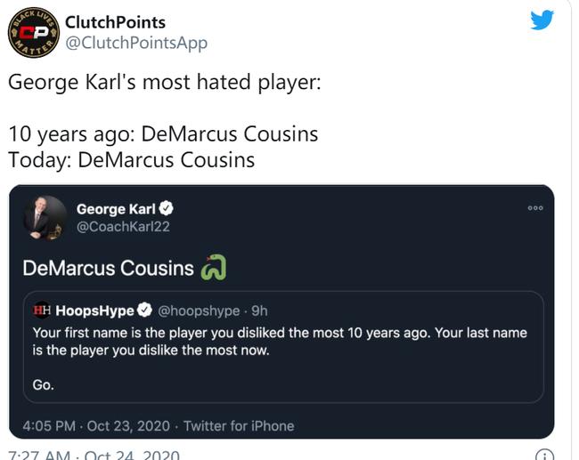 十年前和现在最讨厌的球员? 名帅:都是考辛斯