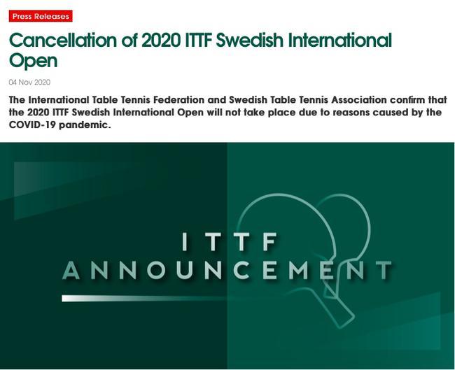 疫情形势越来越严峻 ITTF取消2020瑞典国际公开赛