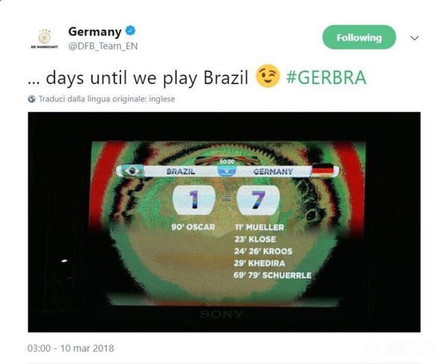 德国拿7-1调侃巴西
