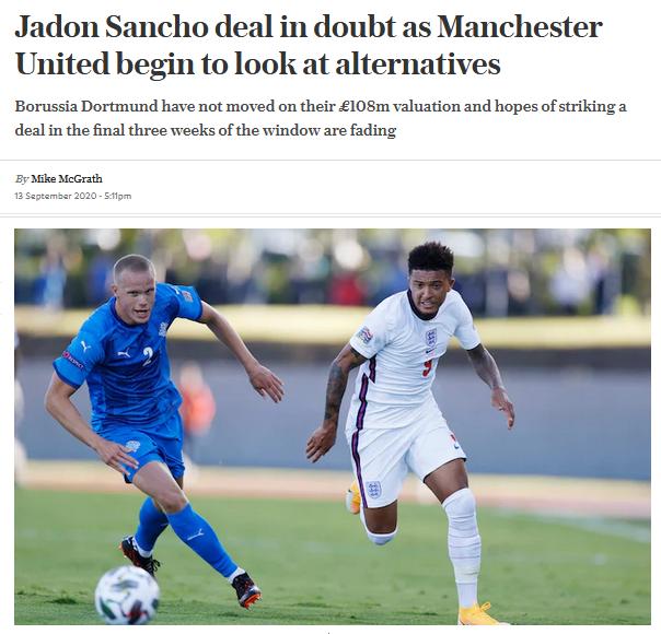 曼联不再专注于桑乔,开始考虑其他选择