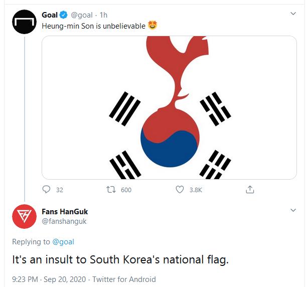 外媒P图赞孙兴慜却激怒韩国球迷:侮辱韩国国旗
