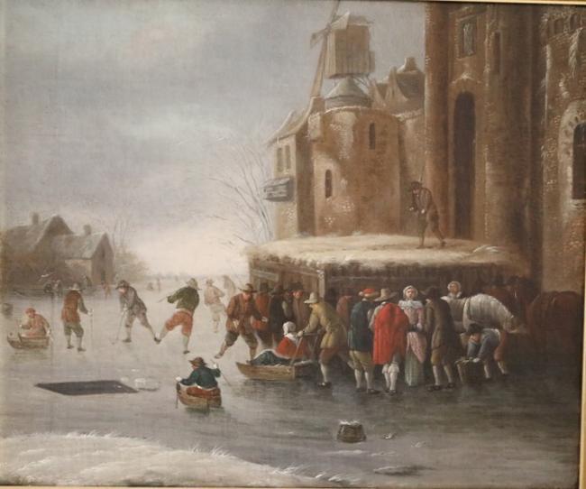 魔之粹�my�/9c!_运河上的滑冰者,托马斯希尔曼斯,c. 1670