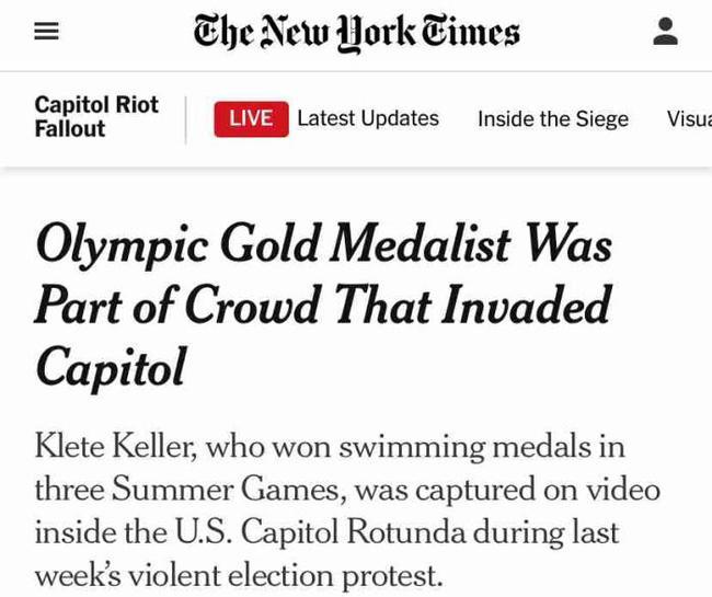 美奥运冠军穿队服冲击国会 被吃瓜群众给揪出来了