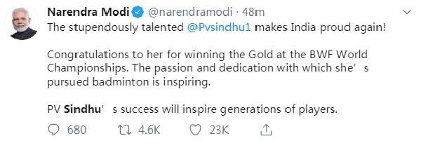 印度总理发推祝贺辛杜 称她才华横溢成功鼓舞人心