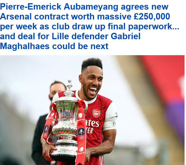 英媒:阿森纳顶薪续约奥巴梅扬3年 就等签字官宣