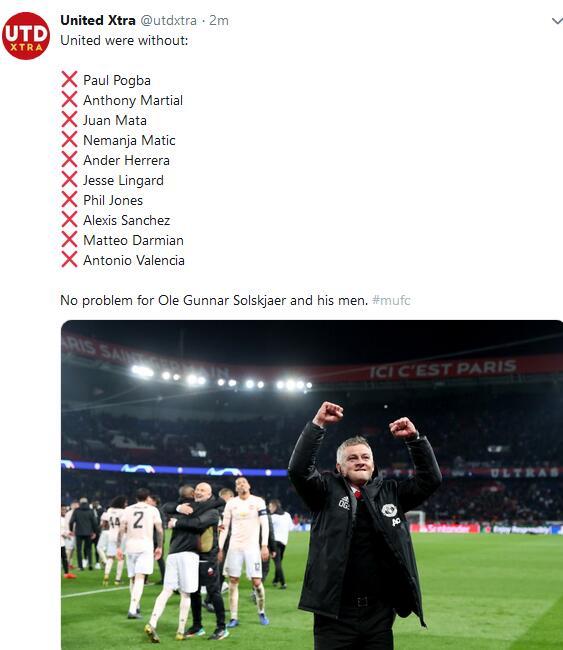 曼联总计10名一线球员缺席