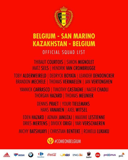 比利时国家队名单:阿扎尔领衔 德布劳内因伤缺阵