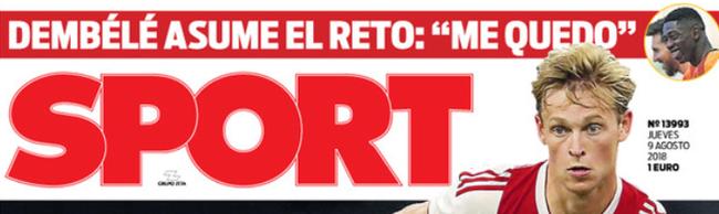 《每日体育报》封面:登贝莱宣布留下