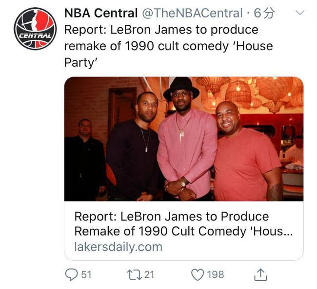詹姆斯再次担任制片人 将翻拍美国著名喜剧
